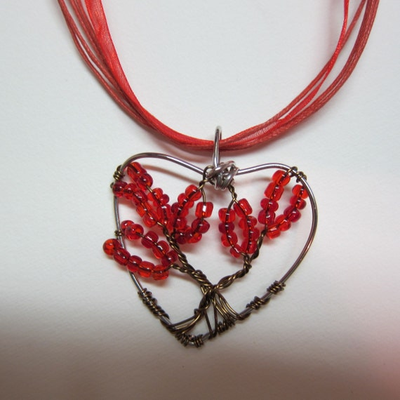 Red Heart Shape, Tree of Life Wire Wrap pendant Necklace Gif of Love