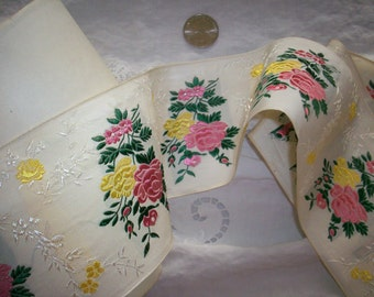 1 yd. of Gorgeous french ribbon trim with roses, Yardage available