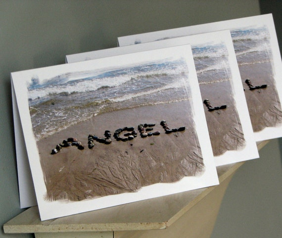 Beach Theme Greeting Cards- Angel cards, beach stone word spelled out in sand, beach writing, baby card, romantic, spiritual, summer cards