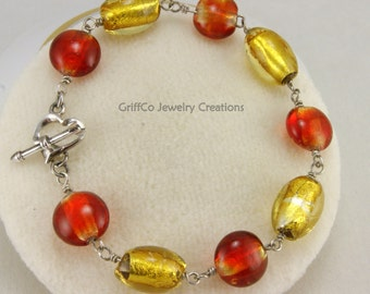 Red and Gold Foil Lined Glass Bracelet