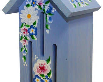 Blue Butterfly House with Hand Painted Roses and Daisies
