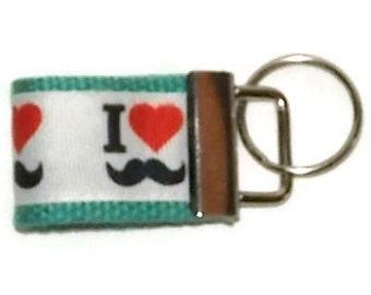 I Heart Mustaches Mini- Key Fob, Key Chain, Wristlet