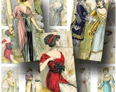 French Fashion Digital Collage Sheet / ON SALE!!! / Digital Download / Vintage Fashion Hat Dress Paris / Domino Size #1 / INSTANT Download