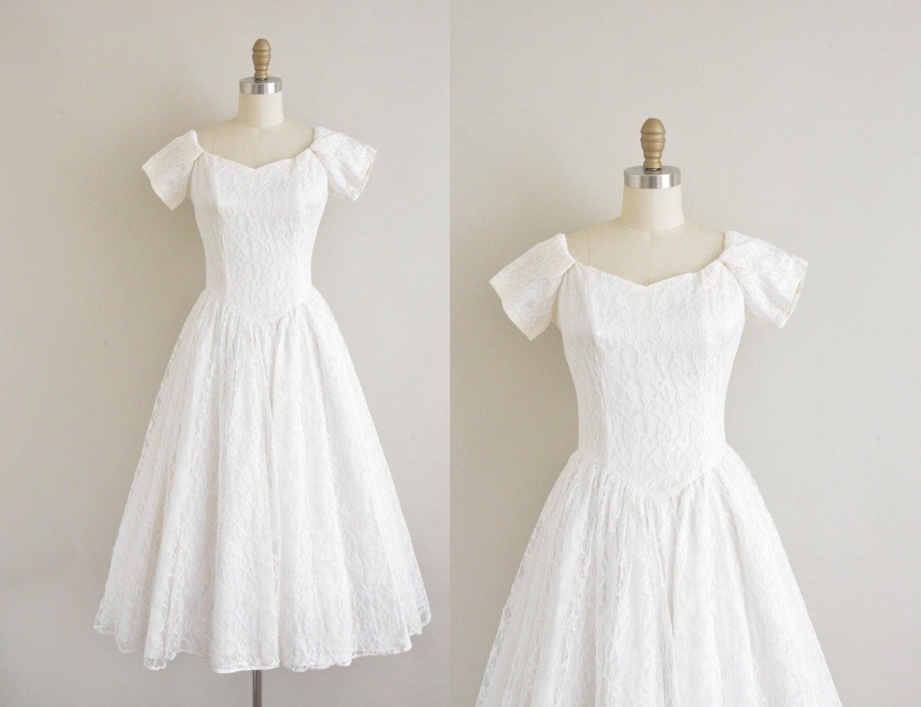 Vintage 50s Wedding Dress / 50s Tea Length By