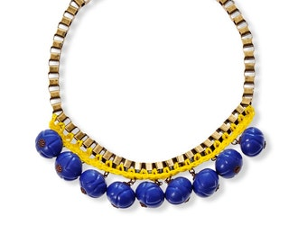 Yellow and Blue Statement Necklace, Fashion trendy jewelry by naama brosh, Unique necklace for women