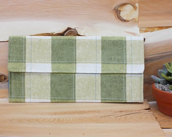 Canvas Clutch Purse - Green Gingham - Ready to Ship - One of a Kind