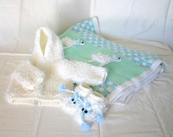 Baby sheep layette 6 month crochet set white green blue jacket blanket booties shoes lamb boy loops farm animal sweater photography prop