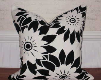 Decorative Pillow: HGTV Black and Winter White Floral 18 X 18 Accent Throw Pillow Cover