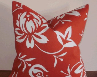 SALE ~ Decorative Outdoor Pillow Cover: 18 X 18 Deep Tomato Red and White Modern Floral Design Outdoor  Accent Toss Pillow