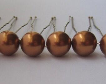 Copper Bridal Hair Pins, Wedding Hair Pins, Pearl Bobby Pins, Swarovski Hair Pins, Single Pearl Hair Pins - Set of 6 Hair Pins 10mm