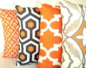 Orange Gray Pillow Covers, Decorative Throw Pillows, Cushion Covers Orange Grey Tan Couch Bed Sofa Cushions, Combo Set of Four Various Sizes