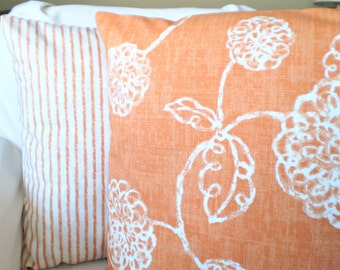 Orange White Pillow Covers, Decorative Throw Pillows Cushion Covers Orange Ivory Decorative Pillows, Couch Bed, Combo Set of Two 16 x 16