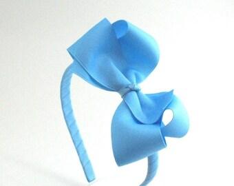 Sky Blue Bow Headband For Girls, Large Bow on Hard Headband, Back to School Headband, Preppy Girls Hair Accessories, Big Girl Headband
