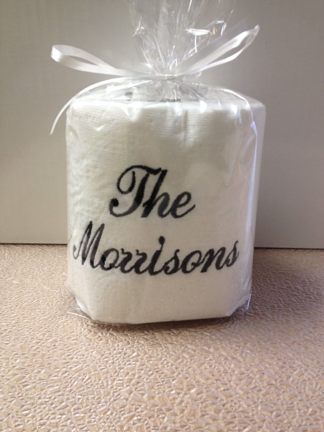 Embroidered personalized toilet paper with family name for for Design your own toilet paper