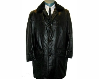 Mens Vintage 1960s Leather Jacket with Detachable Fur Collar 3/4 Greaser Car Coat Mns size 40