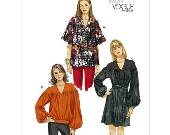 Sz Lg/XLg/XXLg Vogue Top Pattern V8832  - Misses' Top, Tunic and Belt - Very Easy Vogue