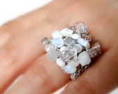 Moonstone Cocktail Ring White Silver Beaded Stone Cluster Ring Hand Knit Howlite Big Funky Chunky Ring