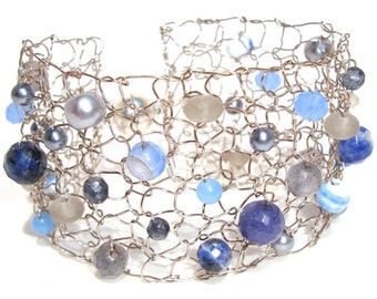 Blue Agate Bracelet Titanium Bracelet Arm Cuff Bracelet Beaded Bracelets Gemstone Bracelet Knitted Handmade Jewelry Unique Gift For Her