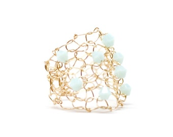 Mint Crystal Gold Ring Gold Wire Mesh Ring Wire Knit Jewelry Mint Crystals Wide Band Ring Funky Summer Mint Green Ring