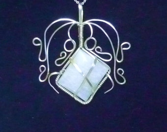 Moonstone Wire Wrapped with Argentium Silver Pendant