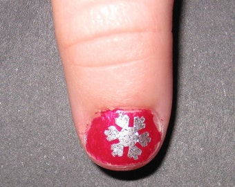 Kid Child Sized Snowflake / Frozen Toe nail / finger nail art decals / stickers / pedicure