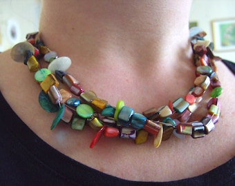 Mix colour, Shell, short, feature necklace, 3 strand, mother of pearl, by NewellsJewels on etsy