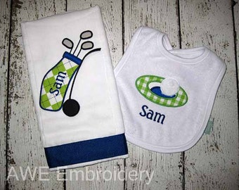 Golf Bib and Burp Cloth Gift set - Monogrammed Personalized for Baby Boy