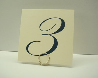 Wedding Table Number Elegant and Simple 4x4 Square Size in Custom Font Color to Coordinate with your Wedding Reception Decor