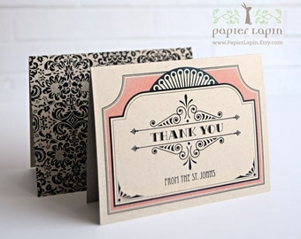 Art Deco Kraft Thank You Card / Set of 20 / European flair, Victorian style / 100% recycled paper