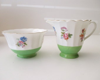 white and green CREAMER and SUGAR-Made in Japan, Shelton, floral, shabby chic