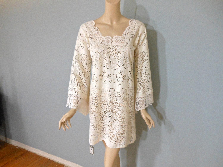 Cream lace mini dress bell sleeve boho wedding dress festival for Bell sleeve wedding dress