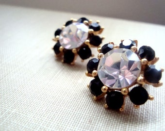 Black and White Rhinestone Earrings Holiday Jewelry Gifts Under 30