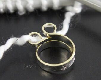 The original wide band knitting ring, Knit2W, crochet ring, yarn ring, custom rings, stranding ring, double loop ring, multi yarn ring