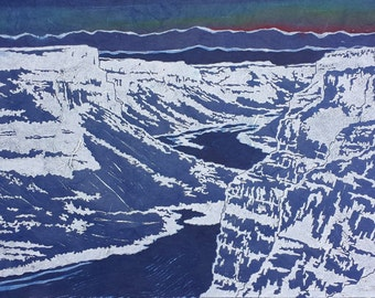 Canyon at First Light - Original Linocut Print