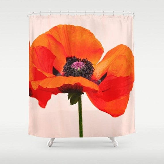 Items Similar To Shower Curtain Oriental Poppy Red Orange Bathroom Curtai
