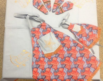 Cow Girl Tablecloth and Apron Set, Tea Party
