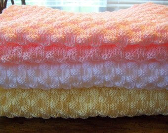Baby Blanket Knitted in New Basketweave Stitch  White or Baby Pink or Baby Yellow
