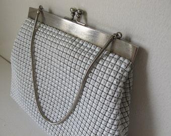 Vintage 1960s White Metal Linked Purse Handbag