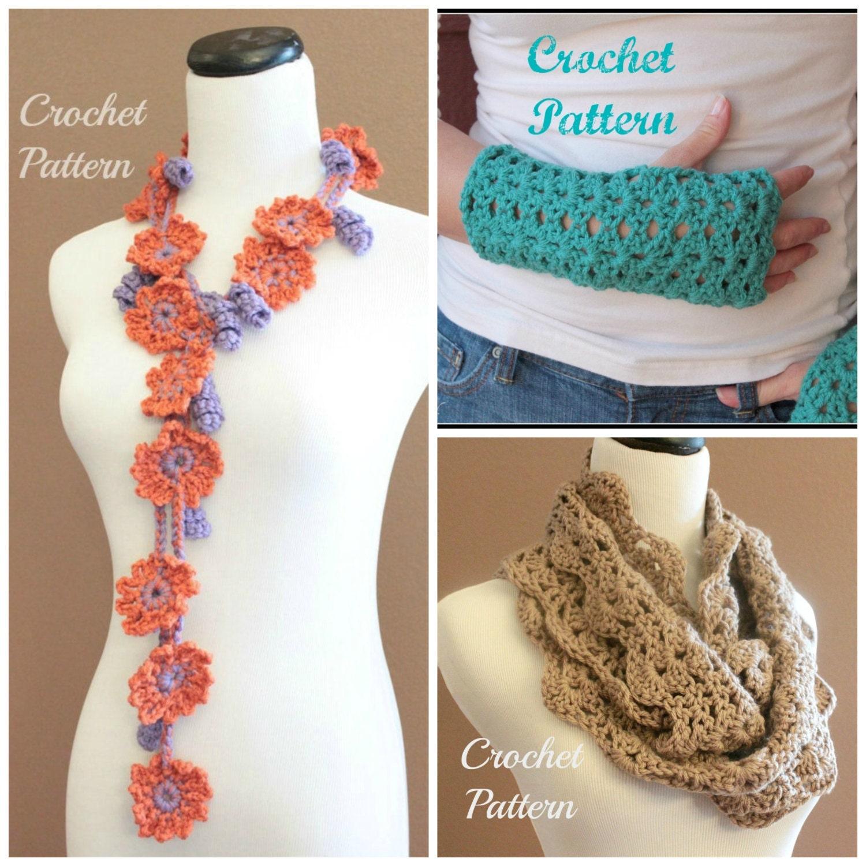 Crochet Flower Shirt Pattern : CROCHET PATTERN Bundle Flower Scarf Pattern Fingerless