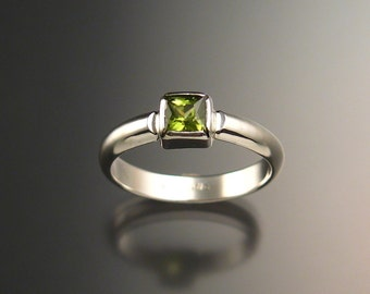 Peridot ring Sterling Silver handmade to order in your size square stone ring