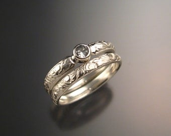 White Sapphire Wedding set sterling silver Victorian bezel set two ring set made to order in your size