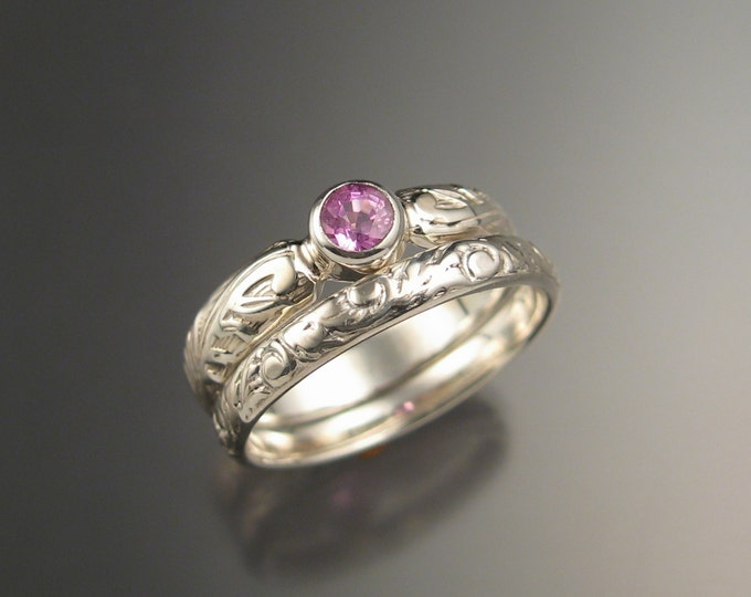 Pink Sapphire diamond substitute Victorian floral band Wedding set Engagement ring set made to order in your size in Sterling Silver
