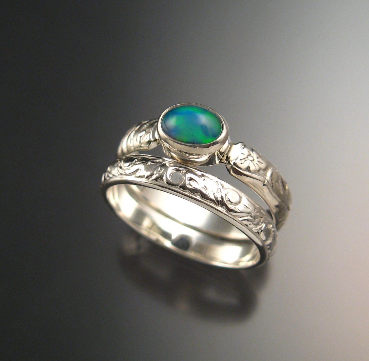 Opal and Sterling silver Wedding Ring Set Victorian floral