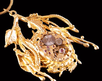 Leaf Necklace Steampunk Necklace Gold Steampunk Necklace Steampunk Jewelry