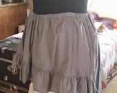 Gray Grey XLong Cotton Wenchling Hi Lo High Low Skirt Asymmetric Ruffled Wench Steampunk Mori Girl