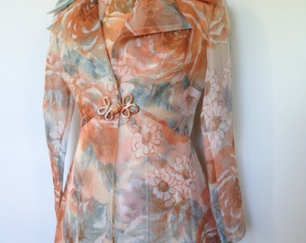 Gorgeous Vintage Peach Cream And Blue Floral Patterned 60s Dress Jacket Outfit Dita Von Teese Vacation Wear