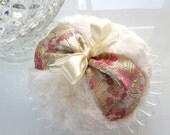 Ivory Powder Puff - ivory and pink satin brocade large pouf - gift boxed, handmade by Bonnybubbles