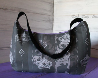 Powder Room Royale al la Goth Melody Hobo with gray canvas lining