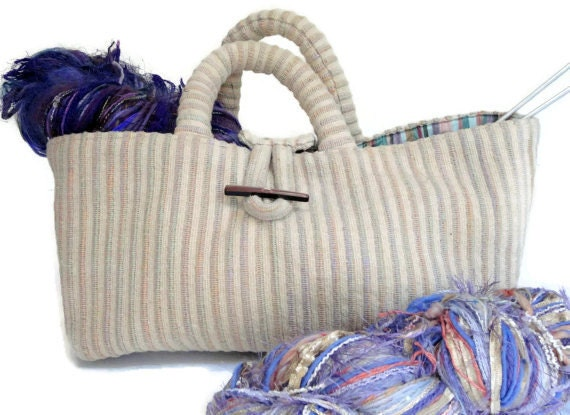 Knitters Small Project Bag Cream Knitting Tote Bag
