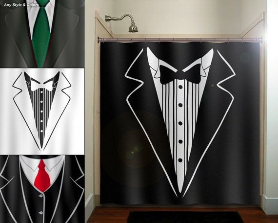 Groom tuxedo dinner suit tie mens shower curtain by for Bathroom accessories for men